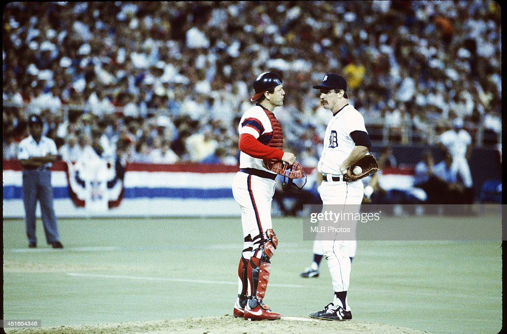 Jack Morris #47 of the Detroit Tigers talks with catcher Carlton Fisk #72 of the Chicago White Sox during the 56th Major League Baseball All-Star Game against the National League at the Hubert H. Humphrey Metrodome on Tuesday, July 16, 1985 in Minneapolis, MN. (Photos by MLB Photos ) *** Jack Morris; Carlton Fisk