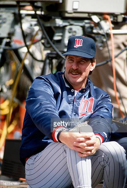 Jack Morris of the Minnesota Twins looks on from the end of the dugout against the Oakland Athletics during an Major League Baseball game circa 1991...