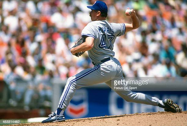 Jack Morris of the Toronto Blue Jays pitches against the Oakland Athletics during an Major League Baseball game circa 1992 at the OaklandAlameda...