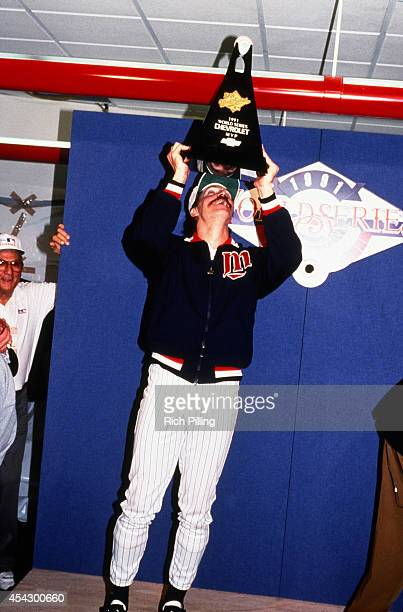 Jack Morris World Series MVP of the Minnesota Twins is seen with the MVP trophy after World Series game seven between the Atlanta Braves and...