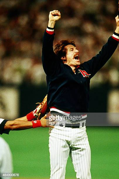 Jack Morris World Series MVP of the Minnesota Twins throws his arms up in the air after World Series game seven between the Atlanta Braves and...