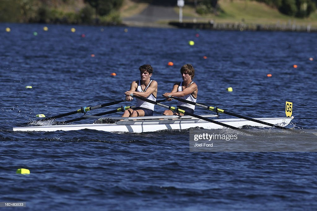 Jack Moss and Corey Lipinski of Tauranga Boys Collge compete in the boys under-17 bouble sculls final during the New Zealand Junior Rowing Regatta on February 24, 2013 in Auckland, New Zealand.