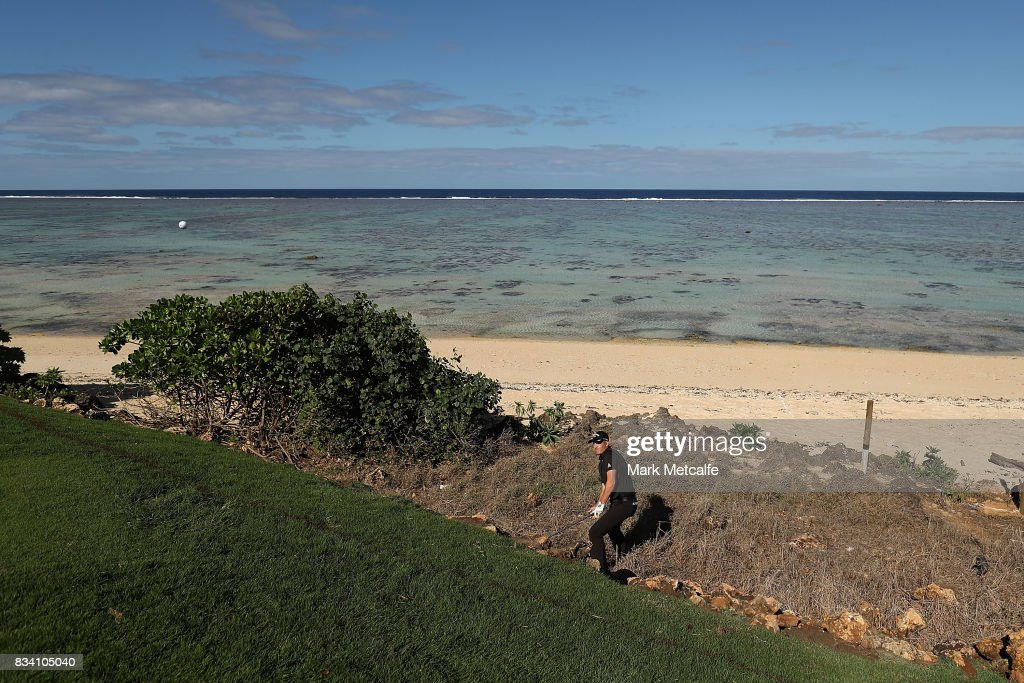 Jack Munro of Australia plays from the rough on the 8th hole during day two of the 2017 Fiji International at Natadola Bay Championship Golf Course on August 18, 2017 in Suva, Fiji.
