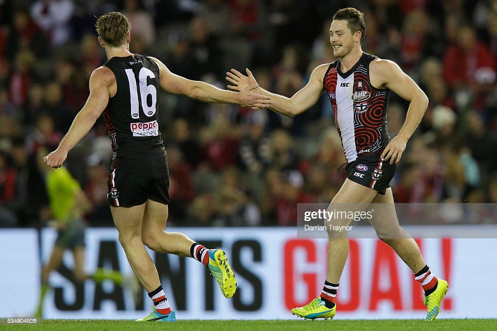 Jack Newnes and Jack Steven of the Saints celebrate a goal during the round 10 AFL match between the St Kilda Saints and the Fremantle Dockers at Etihad Stadium on May 28, 2016 in Melbourne, Australia.