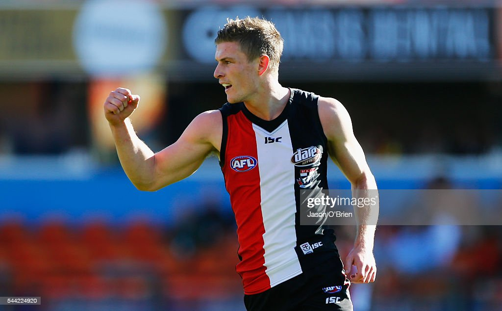 Jack Newnes of the saints celebrates a goal during the round 15 AFL match between the Gold Coast Suns and the St Kilda Saints at Metricon Stadium on July 2, 2016 in Gold Coast, Australia.
