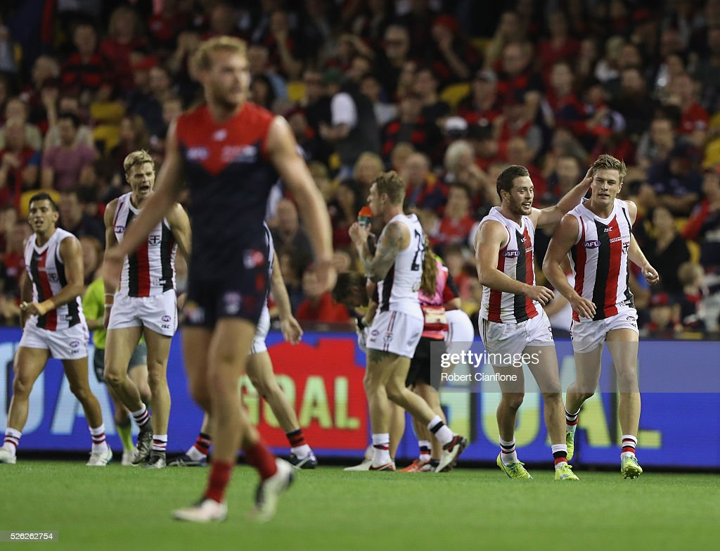 Jack Newnes of the Saints celebrates a goal during the round six AFL match between the Melbourne Demons and the St Kilda Saints at Etihad Stadium on April 30, 2016 in Melbourne, Australia.
