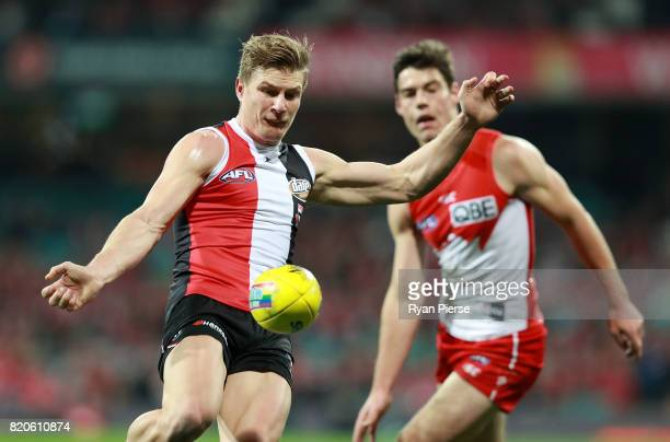 Jack Newnes of the Saints kicks during the round 18 AFL match between the Sydney Swans and the St Kilda Saints at Sydney Cricket Ground on July 22...