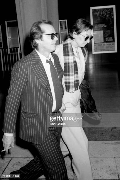 Jack Nicholson and Anjelica Huston attend Mabel Mercer Concert on March 21 1978 at the Dorothy Chandler Pavilion in Los Angeles California
