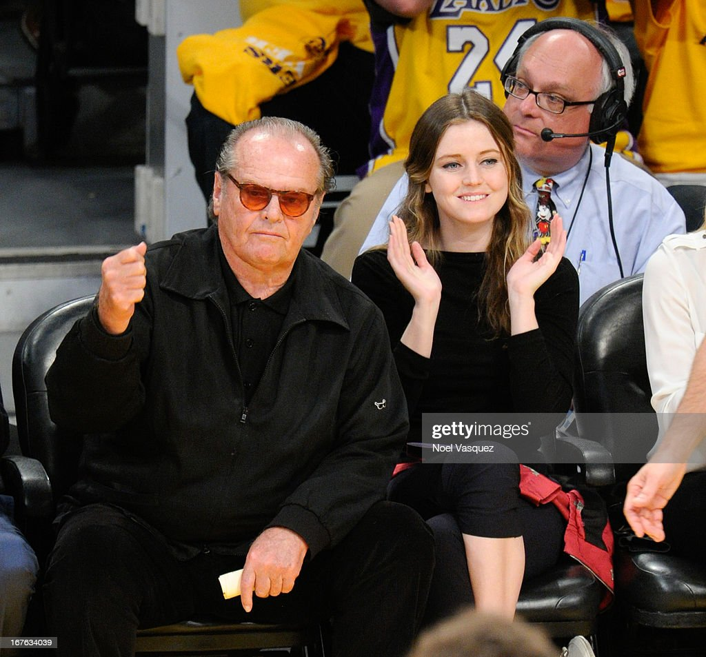 <a gi-track='captionPersonalityLinkClicked' href=/galleries/search?phrase=Jack+Nicholson&family=editorial&specificpeople=91177 ng-click='$event.stopPropagation()'>Jack Nicholson</a> and his daughter <a gi-track='captionPersonalityLinkClicked' href=/galleries/search?phrase=Lorraine+Nicholson&family=editorial&specificpeople=569845 ng-click='$event.stopPropagation()'>Lorraine Nicholson</a> attend an NBA playoff game between the San Antonio Spurs and the Los Angeles Lakers at Staples Center on April 26, 2013 in Los Angeles, California.