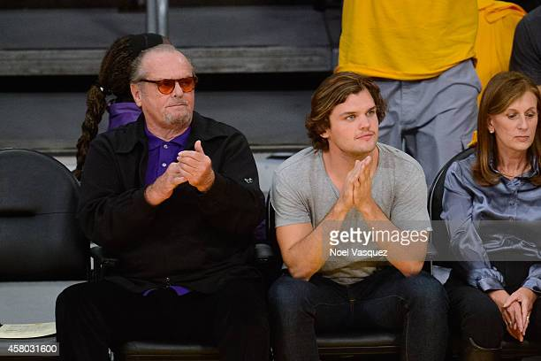 Jack Nicholson and his son Ray Nicholson attend a basketball game between the Houston Rockets and the Los Angeles Lakers at Staples Center on October...