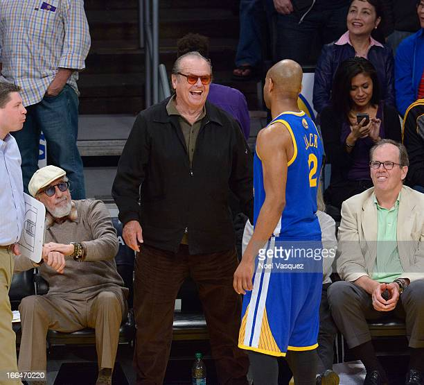 Jack Nicholson and Jarrett Jack at a basketball game between the Golden State Warriors and the Los Angeles Lakers at Staples Center on April 12 2013...