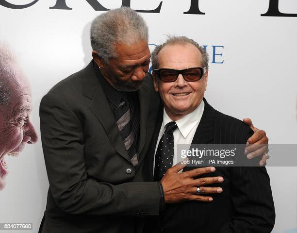 Jack Nicholson and Morgan Freeman arrive for the UK Premiere of The Bucket List at the Vue West End London