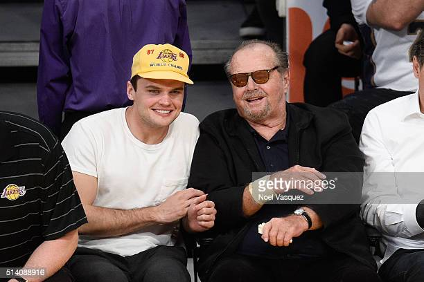 Jack Nicholson and Ray Nicholson attend a basketball game between the Golden State Warriors and the Los Angeles Lakers at Staples Center on March 6...