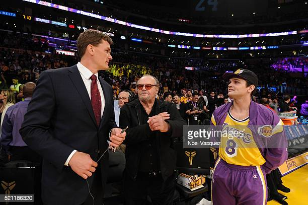 Jack Nicholson and Ray Nicholson attend a basketball game between the Utah Jazz and the Los Angeles Lakers at Staples Center on April 13 2016 in Los...
