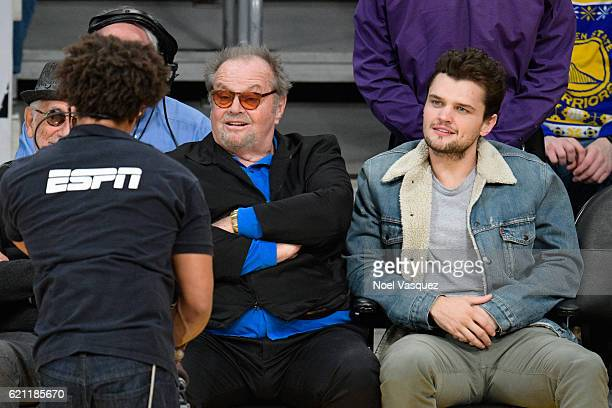 Jack Nicholson and Ray Nicholson attend a basketball game between the Golden State Warriors and the Los Angeles Lakers at Staples Center on November...