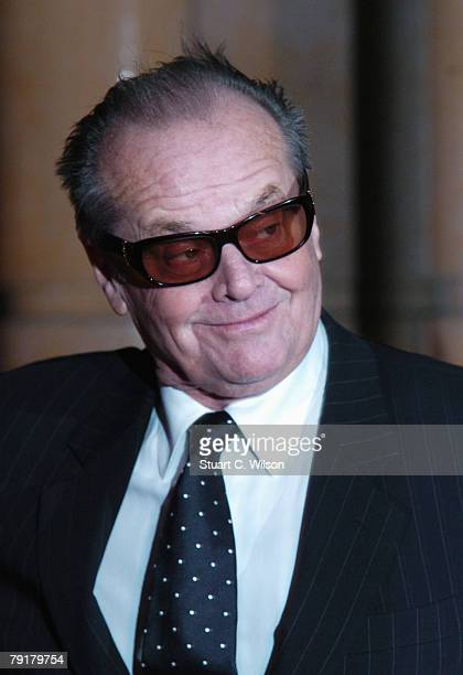 Jack Nicholson arrives at the UK film premiere of 'The Bucket List' at the Vue West End on January 23 2008 in London England