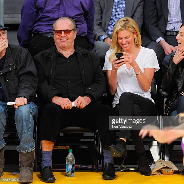 Jack Nicholson attends a basketball game between the Indiana Pacers and the Los Angeles Lakers at Staples Center on January 28 2014 in Los Angeles...