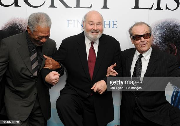 Jack Nicholson Director Rob Reiner and Morgan Freeman arrive for the UK Premiere of The Bucket List at the Vue West End London