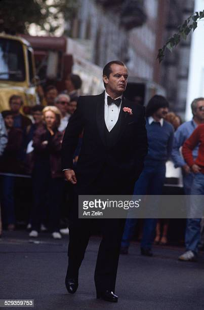 Jack Nicholson in tuxedo on set of a movie in New York circa 1970 New York