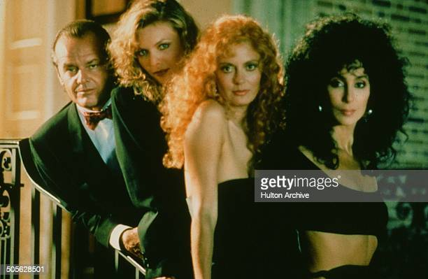 Jack Nicholson Michelle Pfeiffer Susan Sarandon and Cher pose for the Warner Bros movie 'The Witches of Eastwick' circa 1987