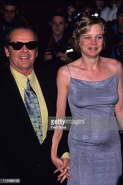 Jack Nicholson with Rebecca Broussard during As Good As It Gets London Premiere at Leicester Square in London United Kingdom