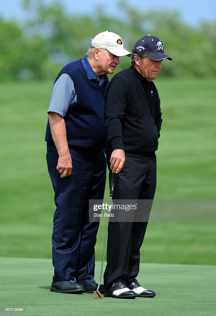 Jack Nicklaus and Gary Player watch play on the 16th green during the first round of the Demaret Division at the Liberty Mutual Insurance Legends of Golf at The Westin Savannah Harbor Golf Resort & Spa on April 22, 2013 in Savannah, Georgia.