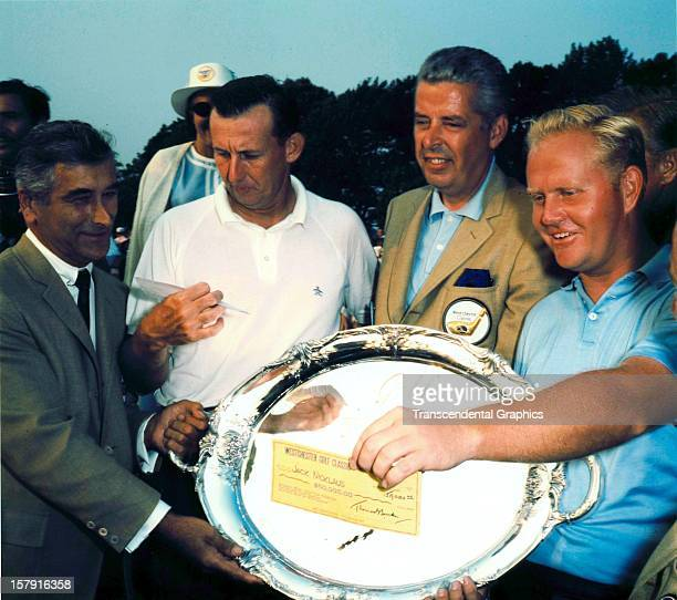 Jack Nicklaus and local dignitaries offer a check and a silver platter at the Thunderbird Classic in June of 1964 in Clifton New Jersey