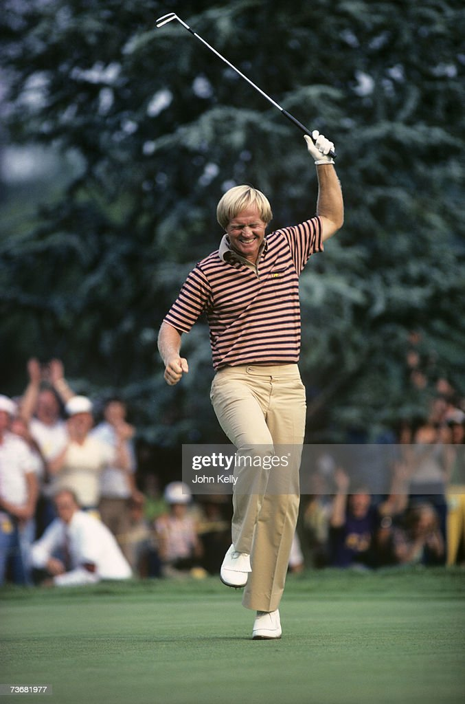 Jack Nicklaus celebrates after birdieing the 17th hole in the final round of the 1980 US Open at the Baltusrol Golf Club