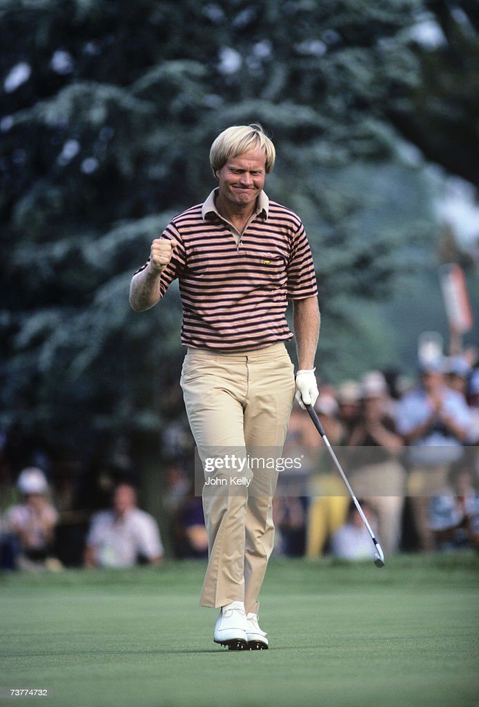 Jack Nicklaus celebrates after birdieing the 17th hole in the final round of the 1980 US Open on June 21 1980 at the Baltusrol Golf Club in...