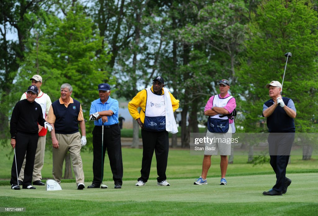 <a gi-track='captionPersonalityLinkClicked' href=/galleries/search?phrase=Jack+Nicklaus&family=editorial&specificpeople=93565 ng-click='$event.stopPropagation()'>Jack Nicklaus</a>, far right, hits a drive on the 16th hole during the first round of the Demaret Division at the Liberty Mutual Insurance Legends of Golf at The Westin Savannah Harbor Golf Resort & Spa on April 22, 2013 in Savannah, Georgia.