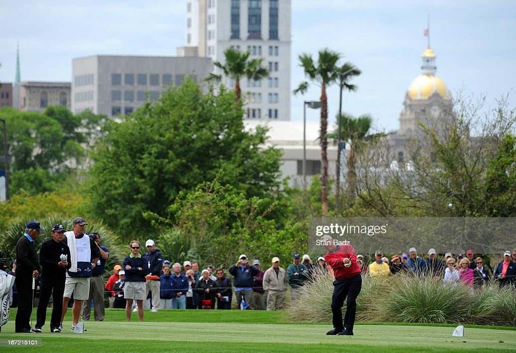 Jack Nicklaus hits a drive on the eighth hole during the first round of the Demaret Division at the Liberty Mutual Insurance Legends of Golf at The Westin Savannah Harbor Golf Resort & Spa on April 22, 2013 in Savannah, Georgia.