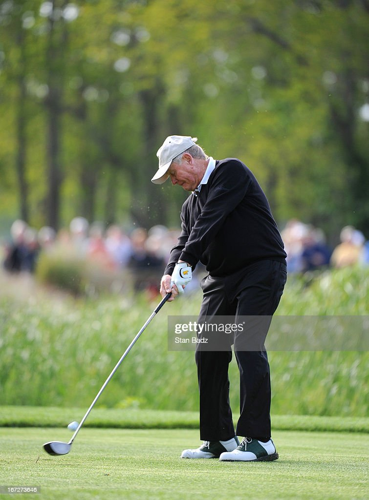 Jack Nicklaus hits a drive on the second hole during the final round of the Demaret Division at the Liberty Mutual Insurance Legends of Golf at The Westin Savannah Harbor Golf Resort & Spa on April 23, 2013 in Savannah, Georgia.