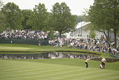 Jack Nicklaus hits a shot on June 7 2002 during the second round of the Senior PGA Championship at Firestone CC in Akron