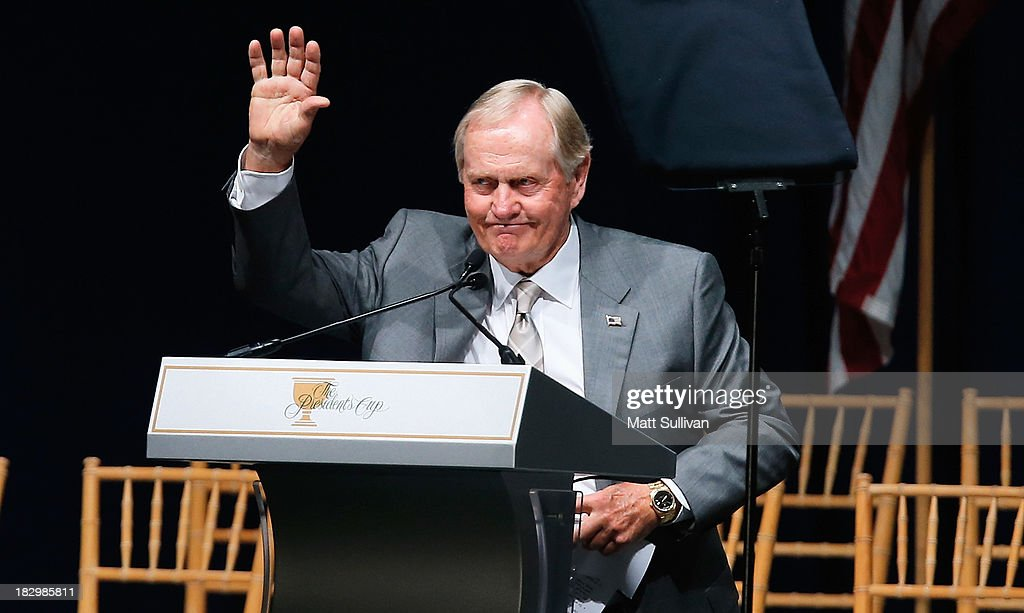 <a gi-track='captionPersonalityLinkClicked' href=/galleries/search?phrase=Jack+Nicklaus&family=editorial&specificpeople=93565 ng-click='$event.stopPropagation()'>Jack Nicklaus</a> is seen on stage at the opening ceremonies at Columbus Commons prior to the start of The Presidents Cup at the Muirfield Village Golf Club on October 2, 2013 in Columbus, Ohio