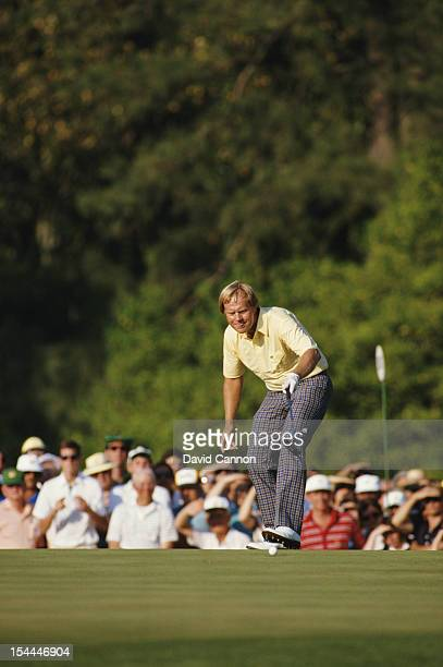 Jack Nicklaus of the United States celebrates his birdie on the 17th hole on 10th April 1986 during the US Masters Golf Tournament at the Augusta...