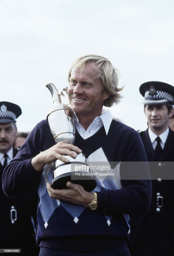 Jack Nicklaus of the United States holds the trophy after winning the British Open Golf Championship at St Andrews Golf Club near Edinburgh on 15th July 1978. Nicklaus beat Ben Crenshaw, Ray Floyd, Tom Kite and Simon Owen by two strokes.