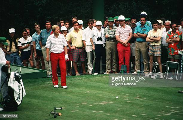 Jack Nicklaus prepares to tee off as a gallery watches during the 1986 Masters Tournament at Augusta National Golf Club in April in Augusta Georgia