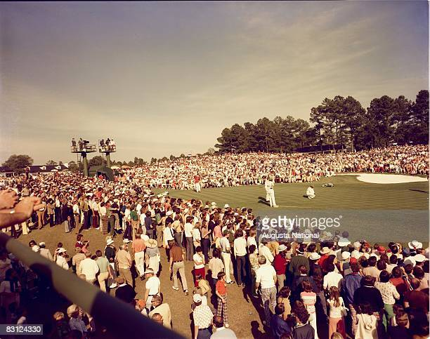 Jack Nicklaus Putts On The 18th Green During The 1975 Masters Tournament