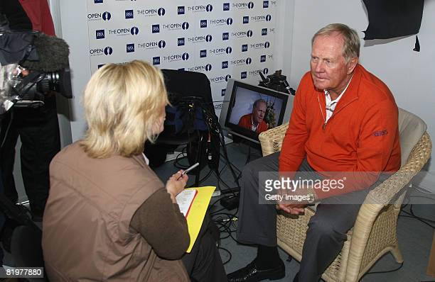 Jack Nicklaus RBS Ambassador speaks to Hazel Irvine of the BBC during a flying visit during the second round of the 137th Open Championship on July...