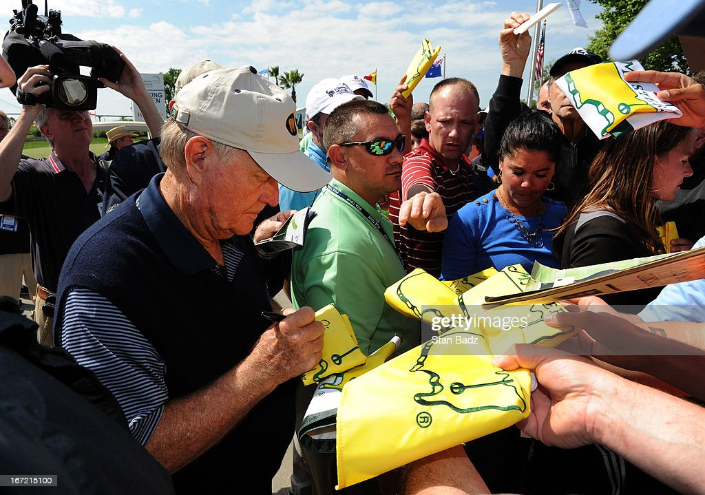 Jack Nicklaus signs autographs for fans after his first round of the Demaret Division at the Liberty Mutual Insurance Legends of Golf at The Westin Savannah Harbor Golf Resort & Spa on April 22, 2013 in Savannah, Georgia.
