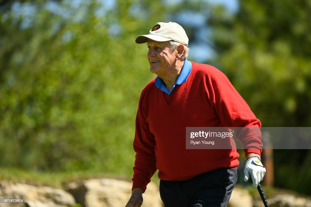 Jack Nicklaus smiles after teeing off on the fifth hole during the Legends of Golf Skins Shooutout during the PGA TOUR Champions Bass Pro Shops Legends of Golf at Big Cedar Lodge at Top of the Rock on April 23, 2017 in Ridgedale, Missouri.
