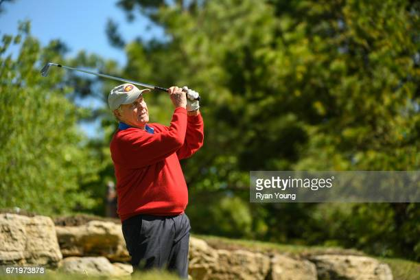 Jack Nicklaus tees off on the fifth hole during the Legends of Golf Skins Shooutout during the PGA TOUR Champions Bass Pro Shops Legends of Golf at...