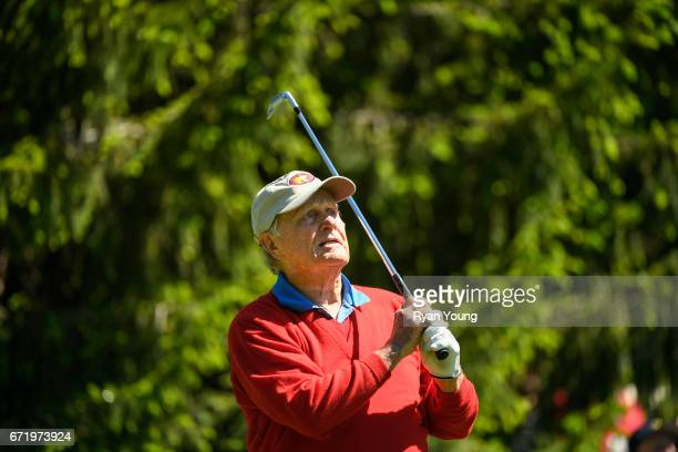 Jack Nicklaus tees off on the seventh hole during the Legends of Golf Skins Shooutout during the PGA TOUR Champions Bass Pro Shops Legends of Golf at...