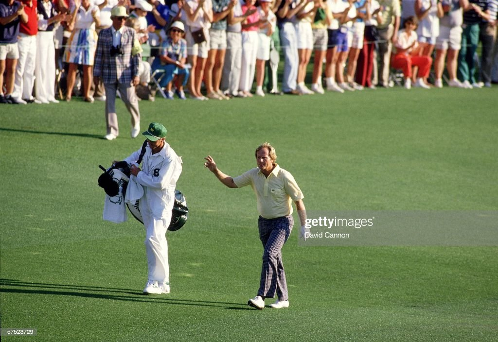 Jack Nicklaus walks up the 18th fairway enroute to victory at the 1986 Masters tournament at Augusta National April 13 1986 in Augusta Georgia