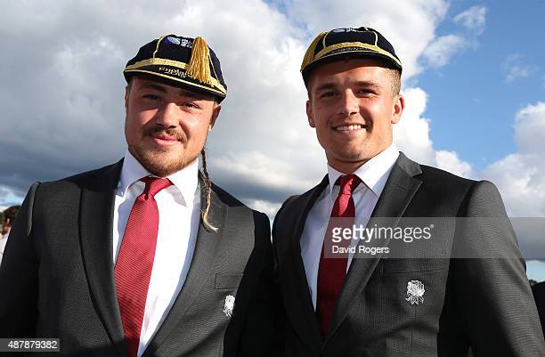 Jack Nowell and Henry Slade of the England 2015 World Cup Rugby squad pose at Sandhurst Millitary College for their official welcoming ceremony on...