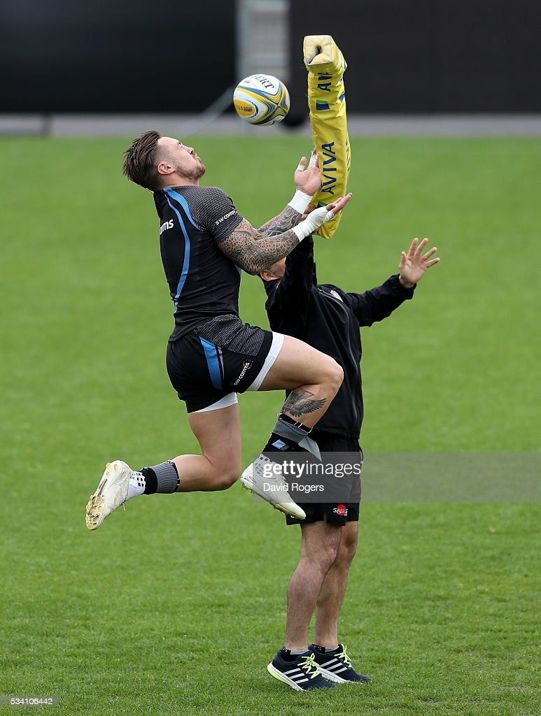 <a gi-track='captionPersonalityLinkClicked' href=/galleries/search?phrase=Jack+Nowell&family=editorial&specificpeople=7377985 ng-click='$event.stopPropagation()'>Jack Nowell</a> catches the ball during the Exeter Chiefs training session held at Sandy Park on May 25, 2016 in Exeter, England.