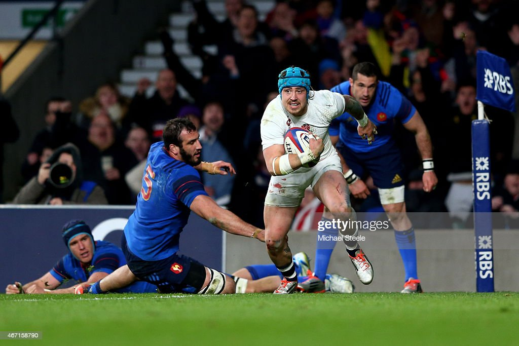 Jack Nowell of England beats Yoann Maestri of France to score England's fifth try during the RBS Six Nations match between England and France at Twickenham Stadium on March 21, 2015 in London, England.