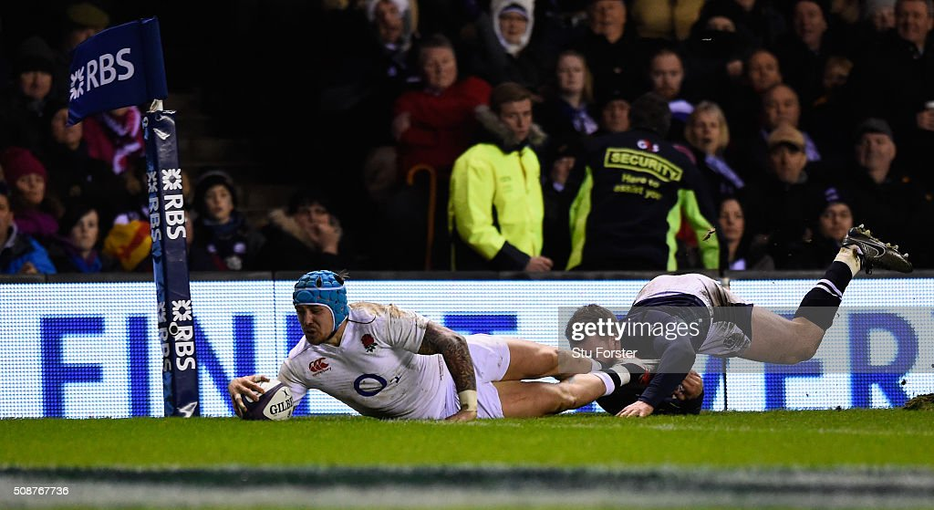 <a gi-track='captionPersonalityLinkClicked' href=/galleries/search?phrase=Jack+Nowell&family=editorial&specificpeople=7377985 ng-click='$event.stopPropagation()'>Jack Nowell</a> of England dives over despite the tackle from <a gi-track='captionPersonalityLinkClicked' href=/galleries/search?phrase=Tommy+Seymour&family=editorial&specificpeople=8797212 ng-click='$event.stopPropagation()'>Tommy Seymour</a> of Scotland to score his team's second try during the RBS Six Nations match between Scotland and England at Murrayfield Stadium on February 6, 2016 in Edinburgh, Scotland.