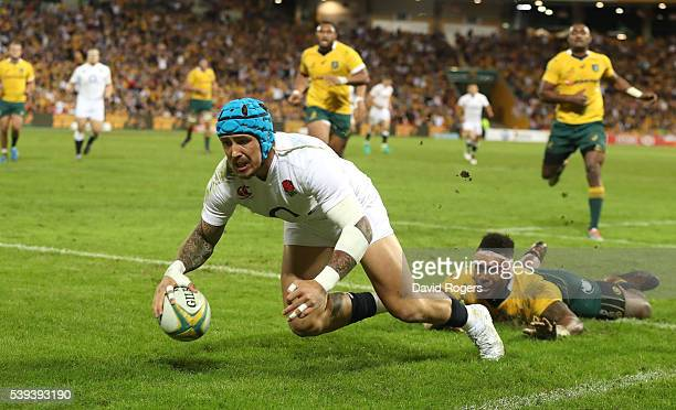 Jack Nowell of England dives over for their third try during the International Test match between the Australian Wallabies and England at Suncorp...