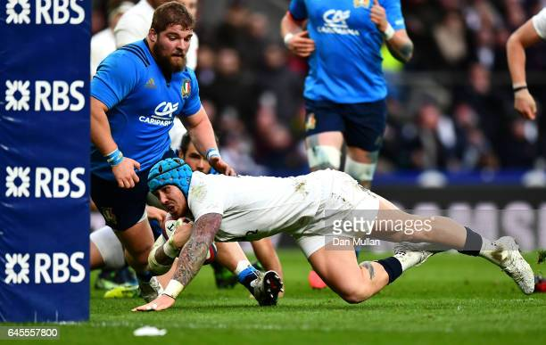 Jack Nowell of England goes over for his teams sixth try during the RBS Six Nations match between England and Italy at Twickenham Stadium on February...